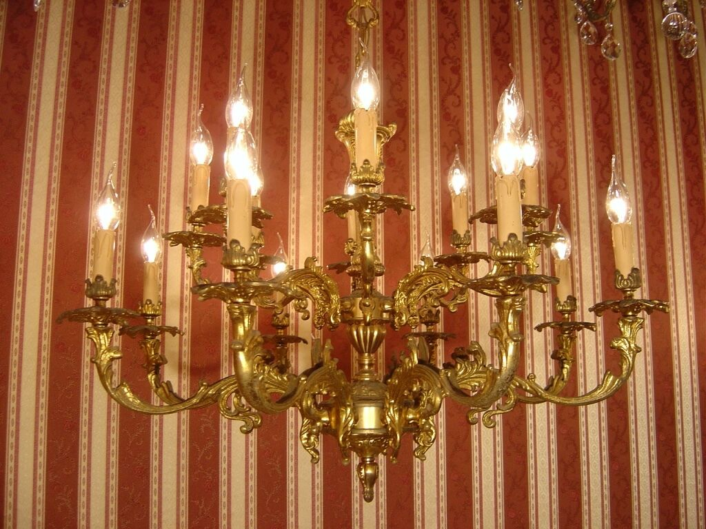 Baroque 16 Light 2 Tiers Brass French Chandelier Vintage Antique Old Ancient
