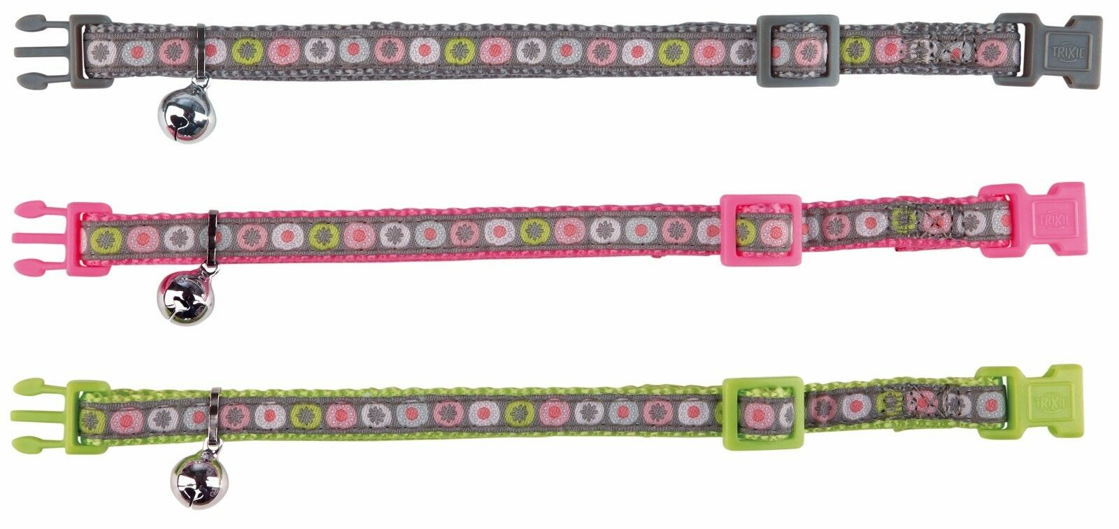 Trixie Nylon Beautiful Cat Kitten Collar Adjustable With Bell 3 Colours 41675