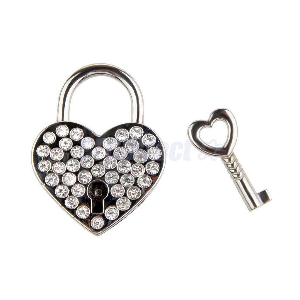 Cute Small Padlocks Mini Travel Luggage Bag Diary Crystal Heart Key Lock