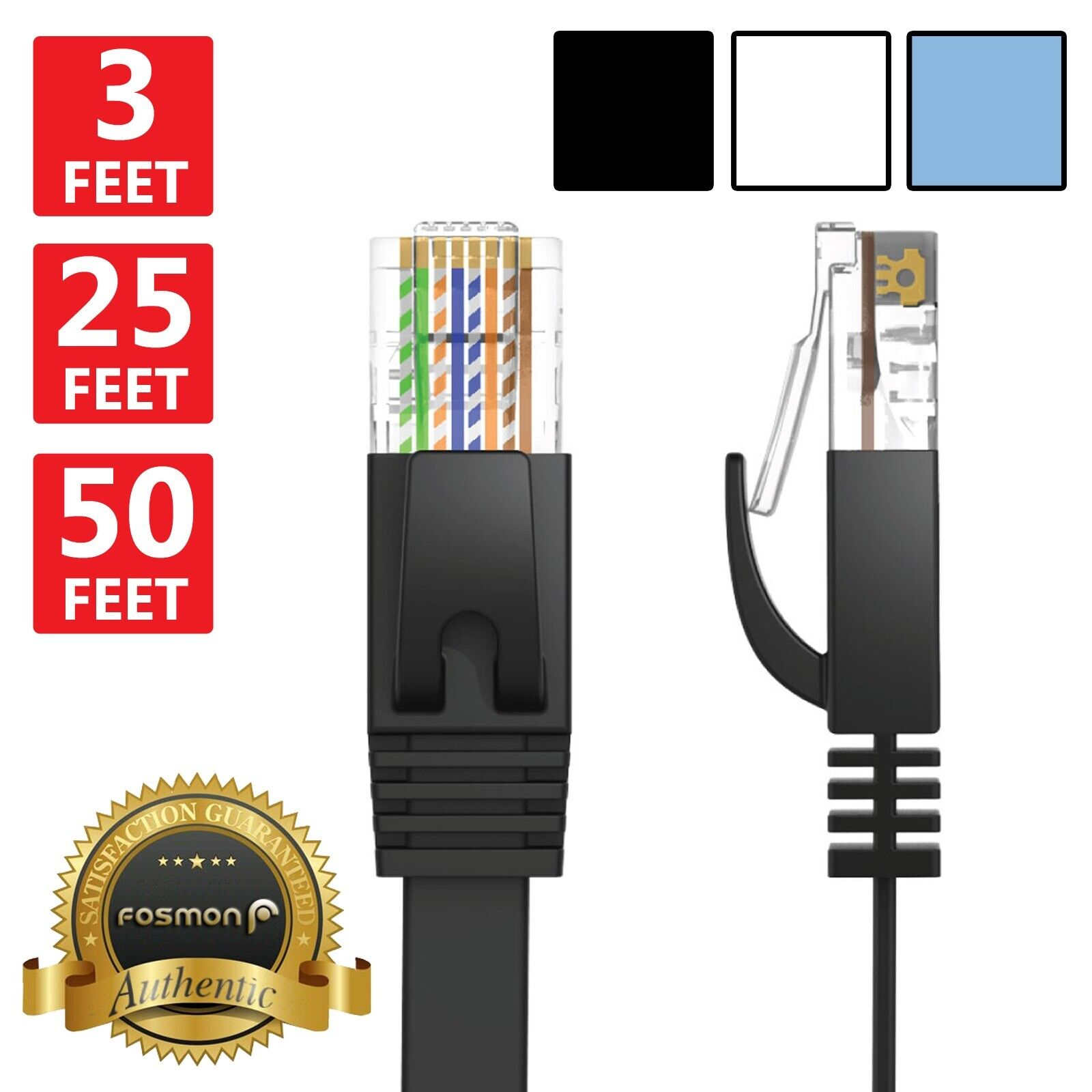 Fosmon 3 6 10 15 25 50 Ft Cat6 Flat Slim Ethernet Rj45 Network Lan 6m Cat5e Cat 5e Patch Cable Lead Wire 1 Of 1free Shipping See More