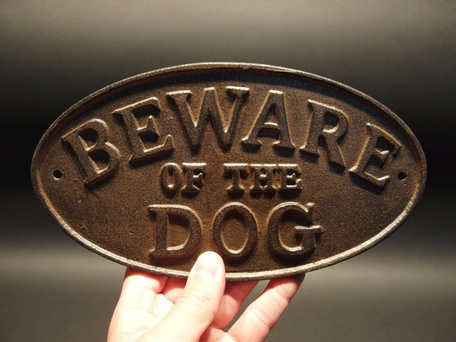 Vintage Antique Style Cast Iron Beware Of The Dog Warning Sign w Raised Letters