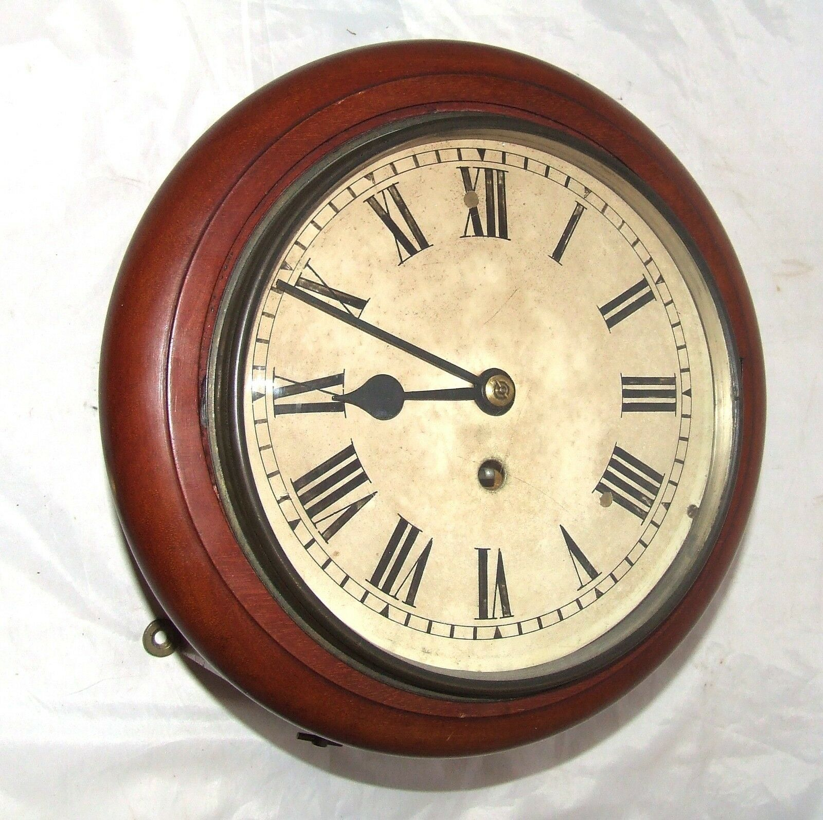 Antique Style Small 8 inch Dial CHAIN Fusee Mahogany Wall School Clock c1920