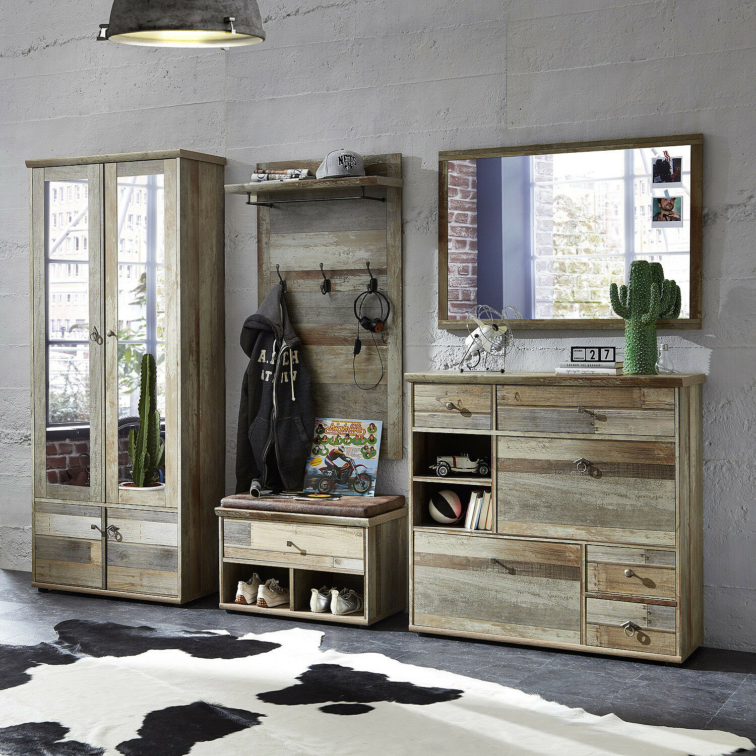 garderobenset bonanza schrank schuhschrank paneel spiegel bank driftwood eur 699 95 picclick de. Black Bedroom Furniture Sets. Home Design Ideas