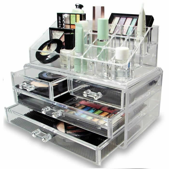 Clear Acrylic Cosmetic Organiser With Drawers Makeup