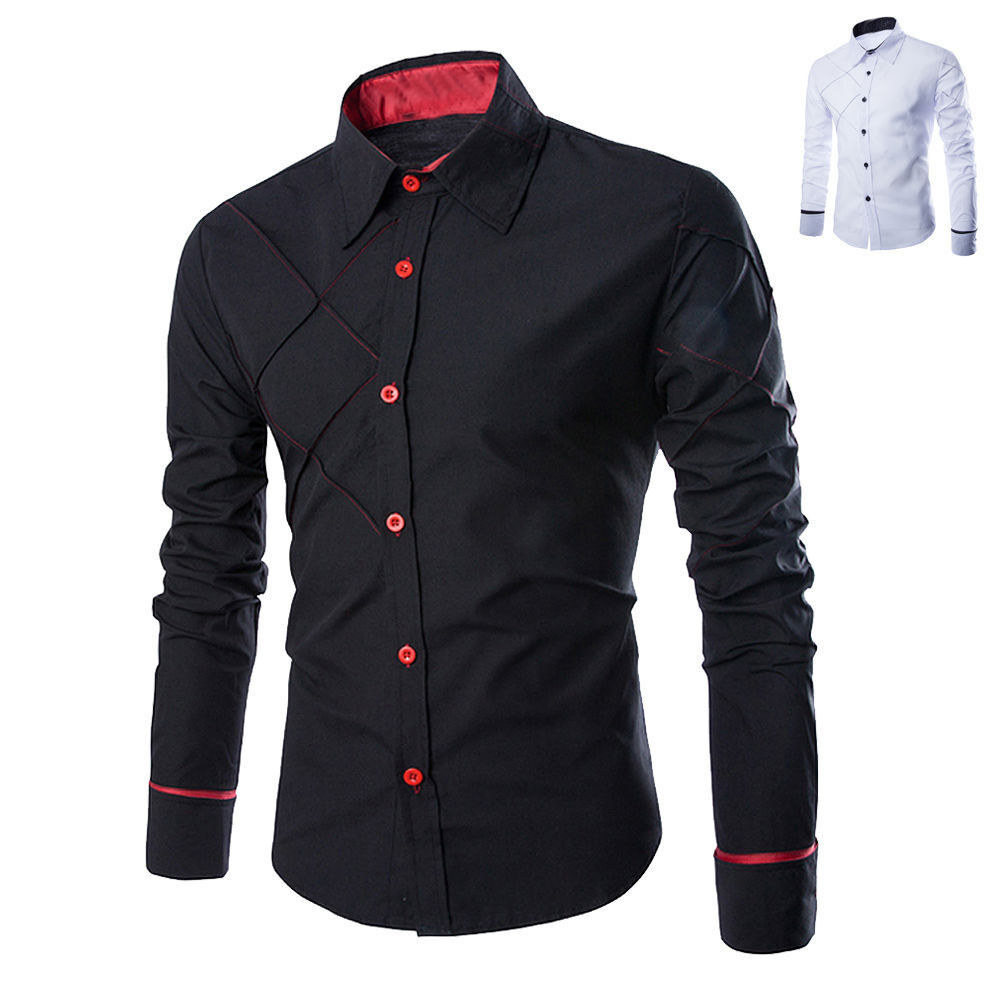 Luxury new mens casual formal shirts slim fit shirt top for Mens slim fit formal shirts uk