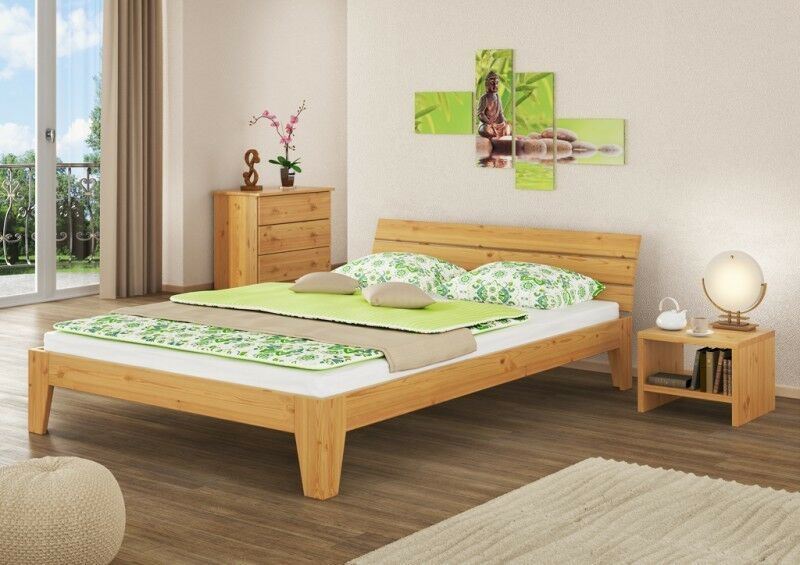 doppelbett berl nge bettgestell massivholz futon 160x220 rollrost eur 239 95. Black Bedroom Furniture Sets. Home Design Ideas