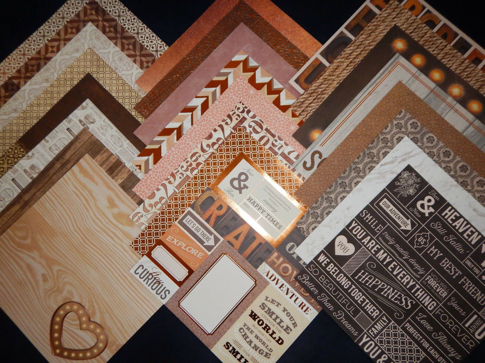 12x12 Scrapbook Paper Cardstock Copper Rustic Wedding Love Story