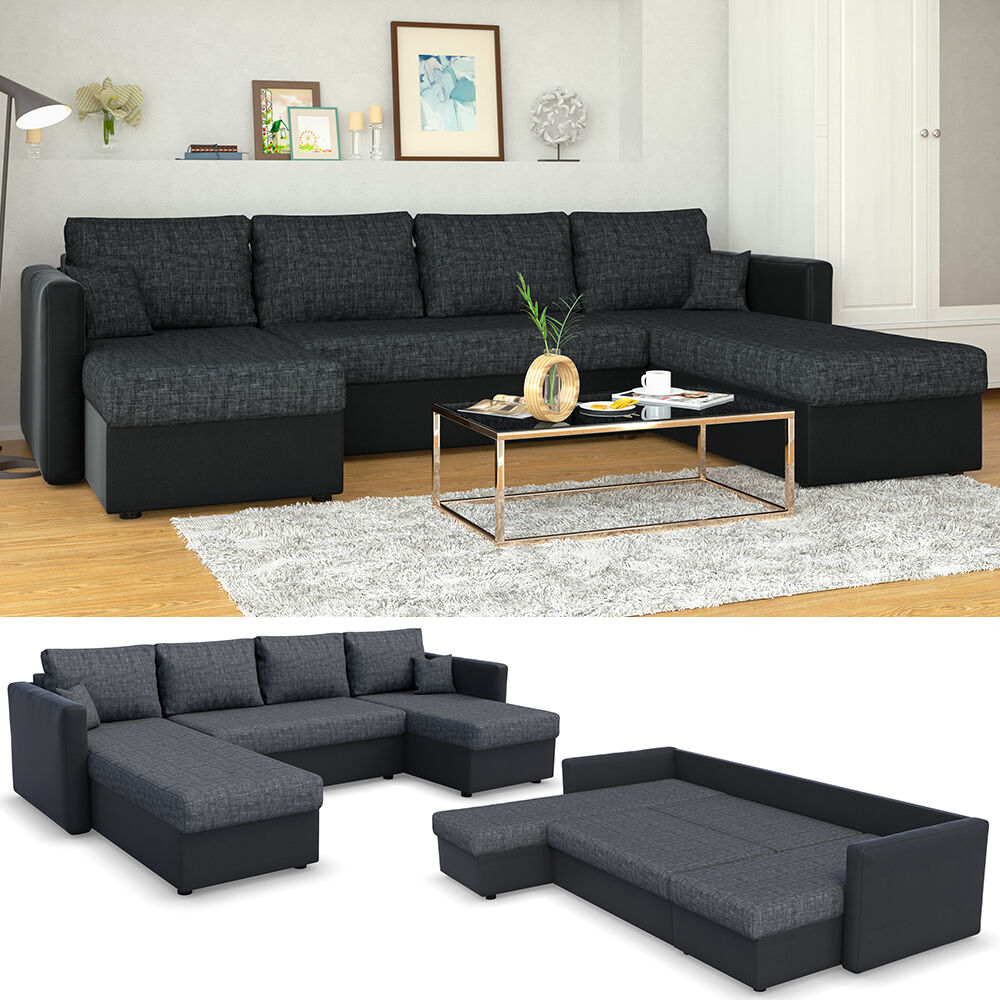 xxl sofa mit schlaffunktion wohnlandschaft couch doppelbett schlafsofa schwarz eur 494 90. Black Bedroom Furniture Sets. Home Design Ideas