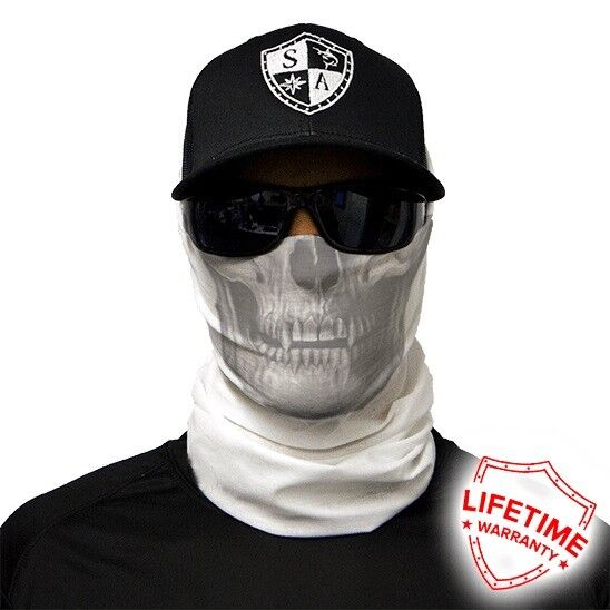 MOTORCYCLE FACE MASK - WHITE SKULL - (Moto, Hunting, Fishing, Paintball)