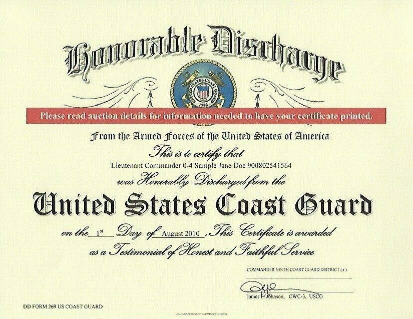 United States Coast Guard Honorable Discharge Replacement