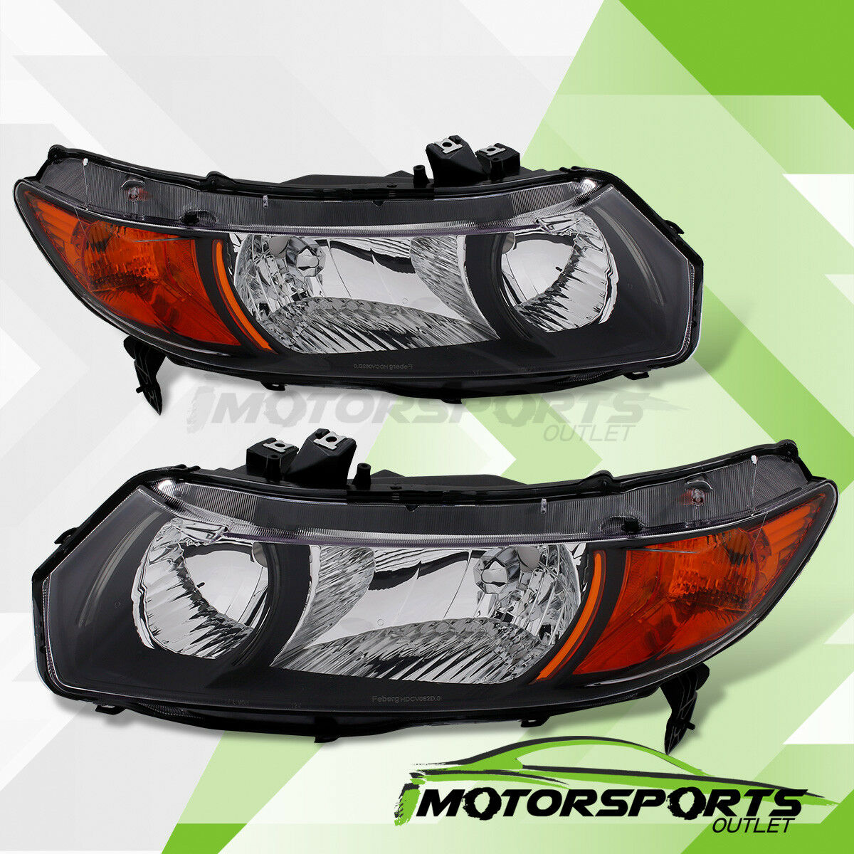 For 2006 2011 Honda Civic Coupe 2dr Black Factory Style Headlights Pair 1  Of 4FREE Shipping ...