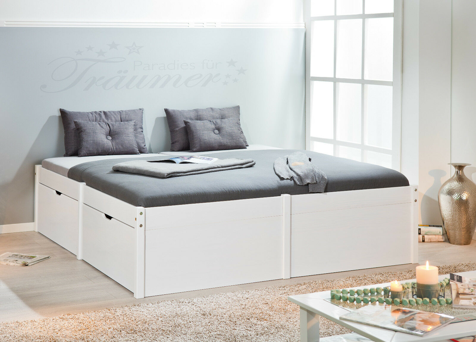 bettgestell funktionsbett 140 x 200 cm massivholz wei viel stauraum neu eur 399 00. Black Bedroom Furniture Sets. Home Design Ideas