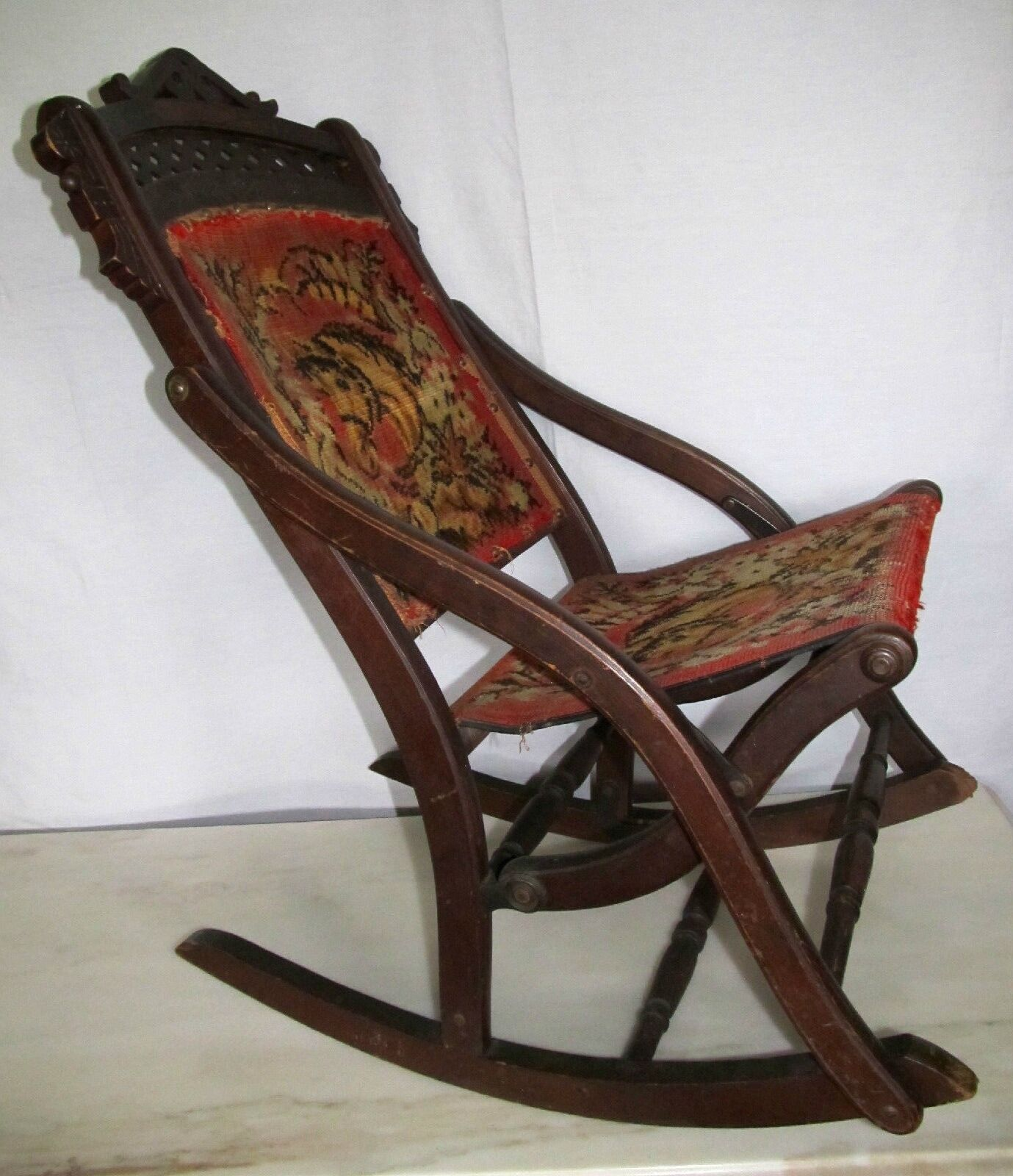 Antique Victorian Eastlake Folding Carpet Rocker Rocking Chair - Horses 1  of 12Only 1 available ... - REDUCED! ANTIQUE VICTORIAN Eastlake Folding Carpet Rocker Rocking