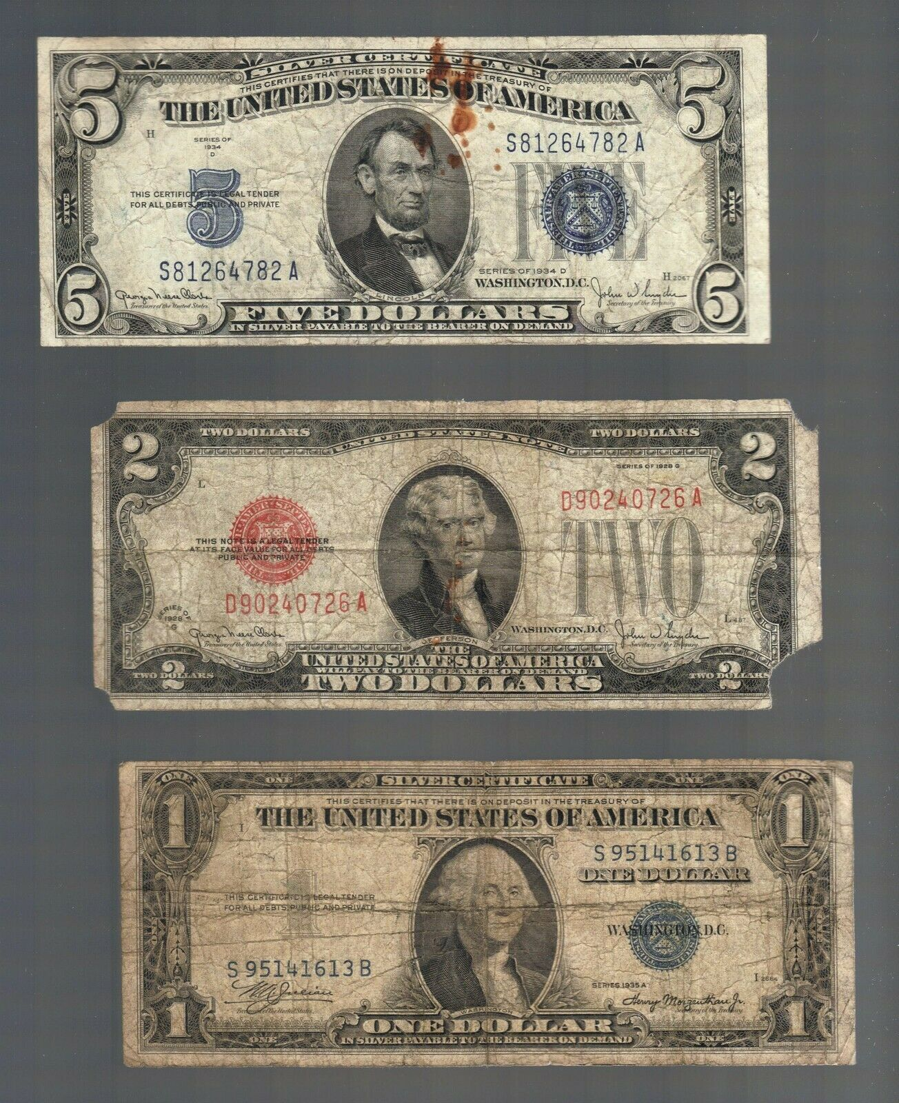 Old Money 1 5 Silver Blue Seal Certificates 2 Dollar Bill Red