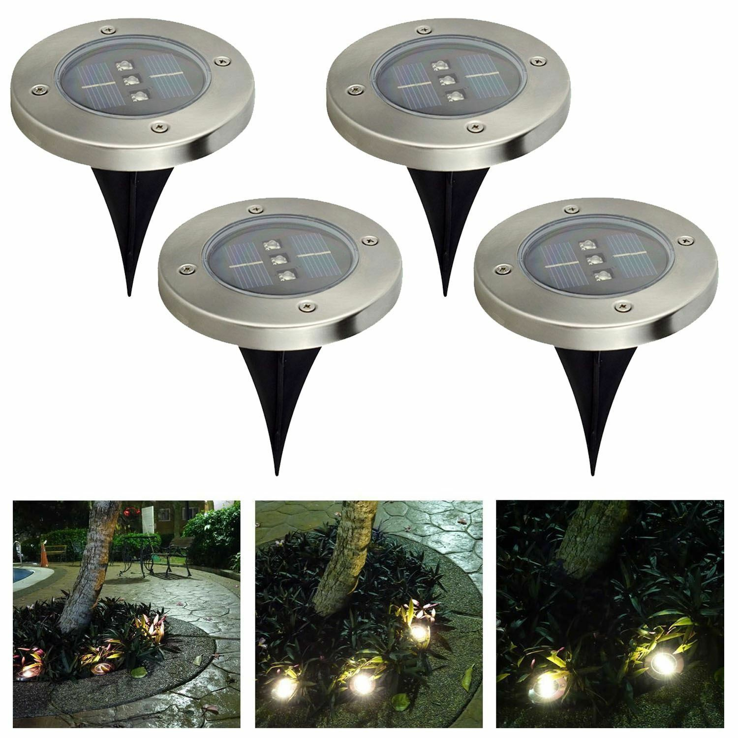 4 x 3 led solar ground light floor decking patio led for Outdoor ground lighting