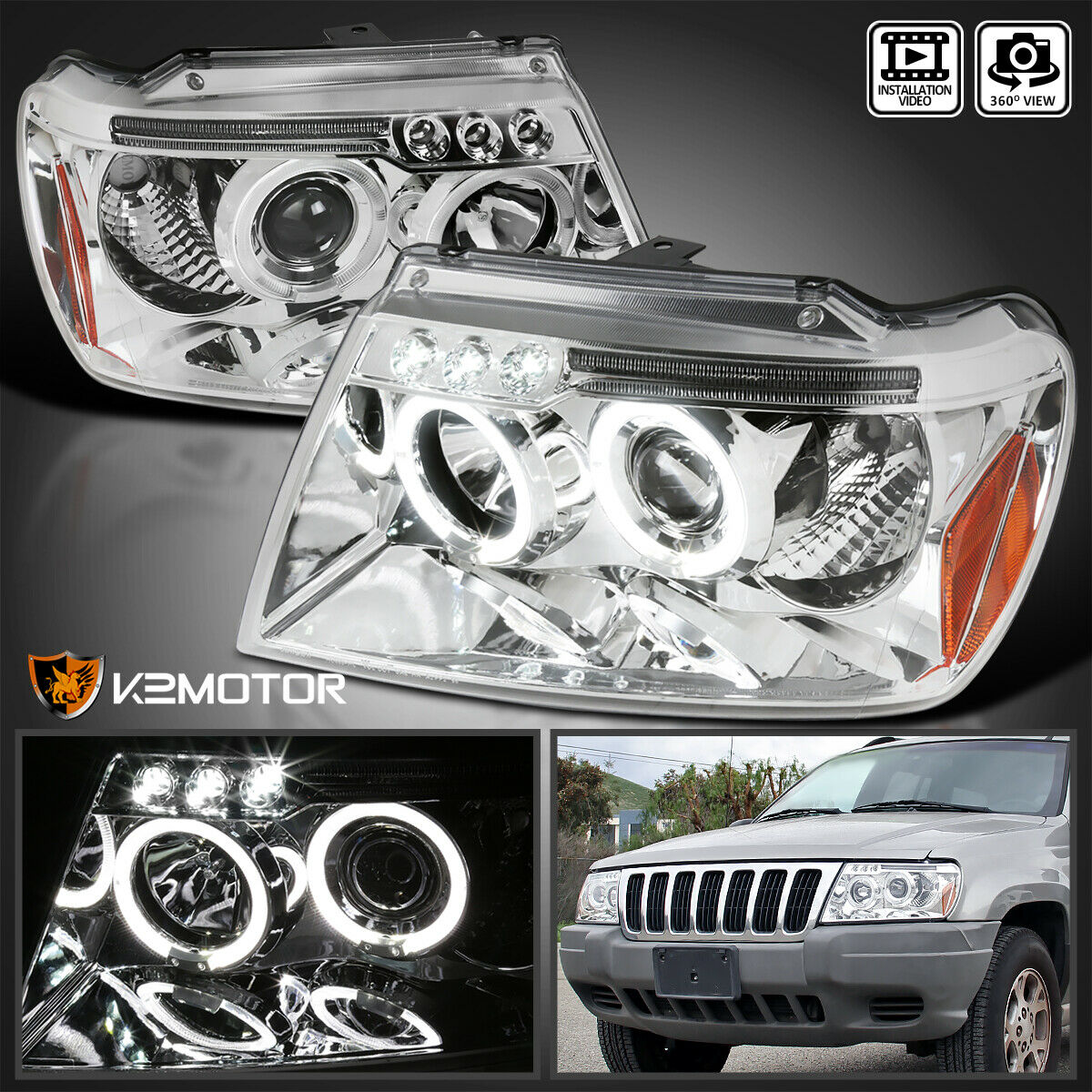 1999 2004 Jeep Grand Cherokee LED Halo Projector Headlights Pair 1 Of  11FREE Shipping ...