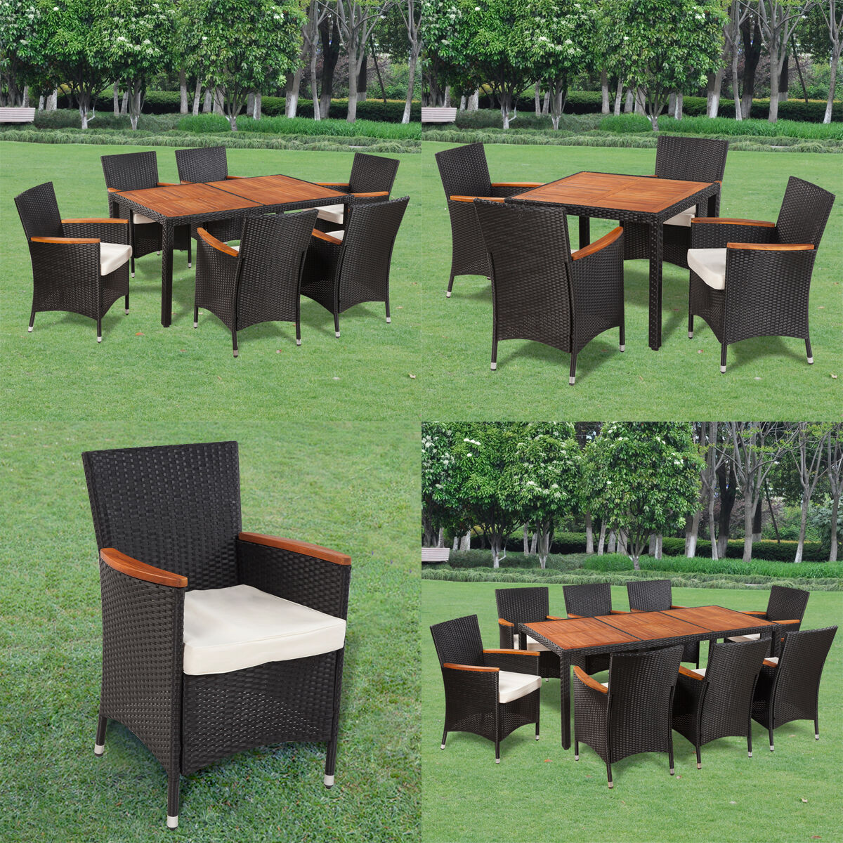 poly rattan gartenm bel gartengarnitur holz sitzgruppe essgruppe tisch st hle eur 212 99. Black Bedroom Furniture Sets. Home Design Ideas