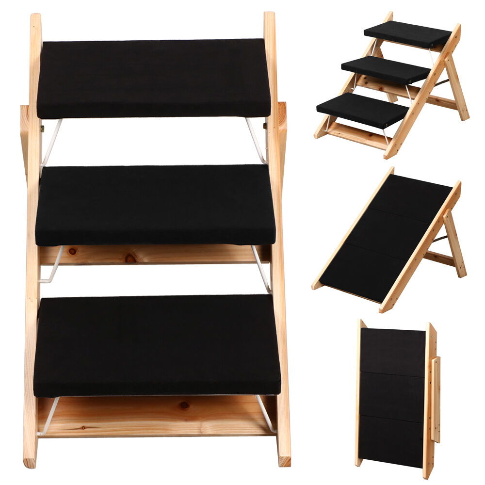 Portable Wooden 2 In 1 Pet Folding Dog Cat 3 Ramp Steps