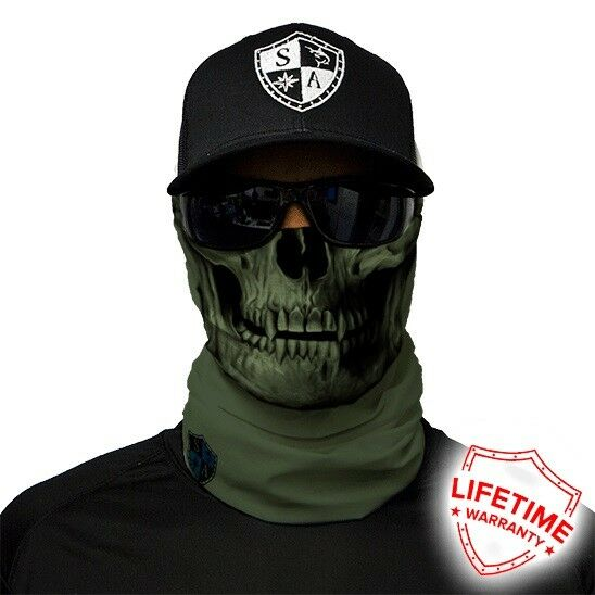 MOTORCYCLE FACE MASK - ARMY GREEN SKULL - (Moto, Hunting, Fishing, Paintball)