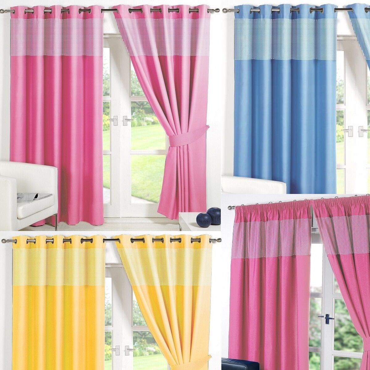 Gingham Kids Bedroom Curtains Thermal Blackout Curtain Eyelet Or Pencil Pleat Picclick Uk