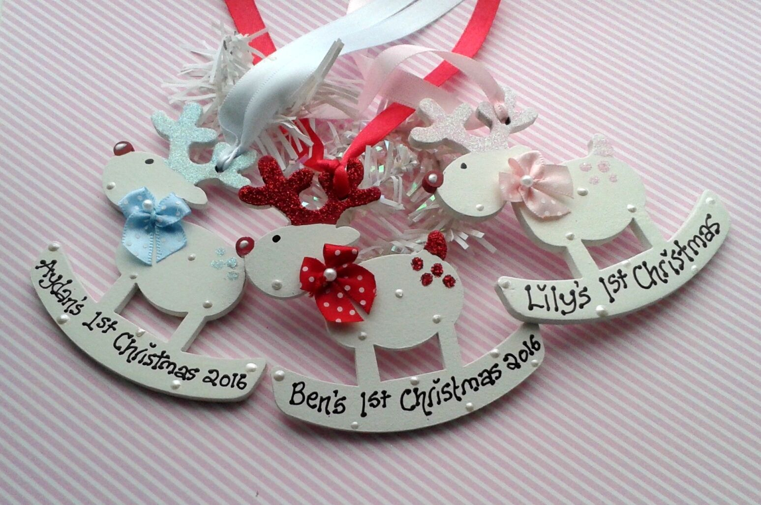 Personalised reindeer christmas tree decoration baby 1st for Baby christmas tree decoration