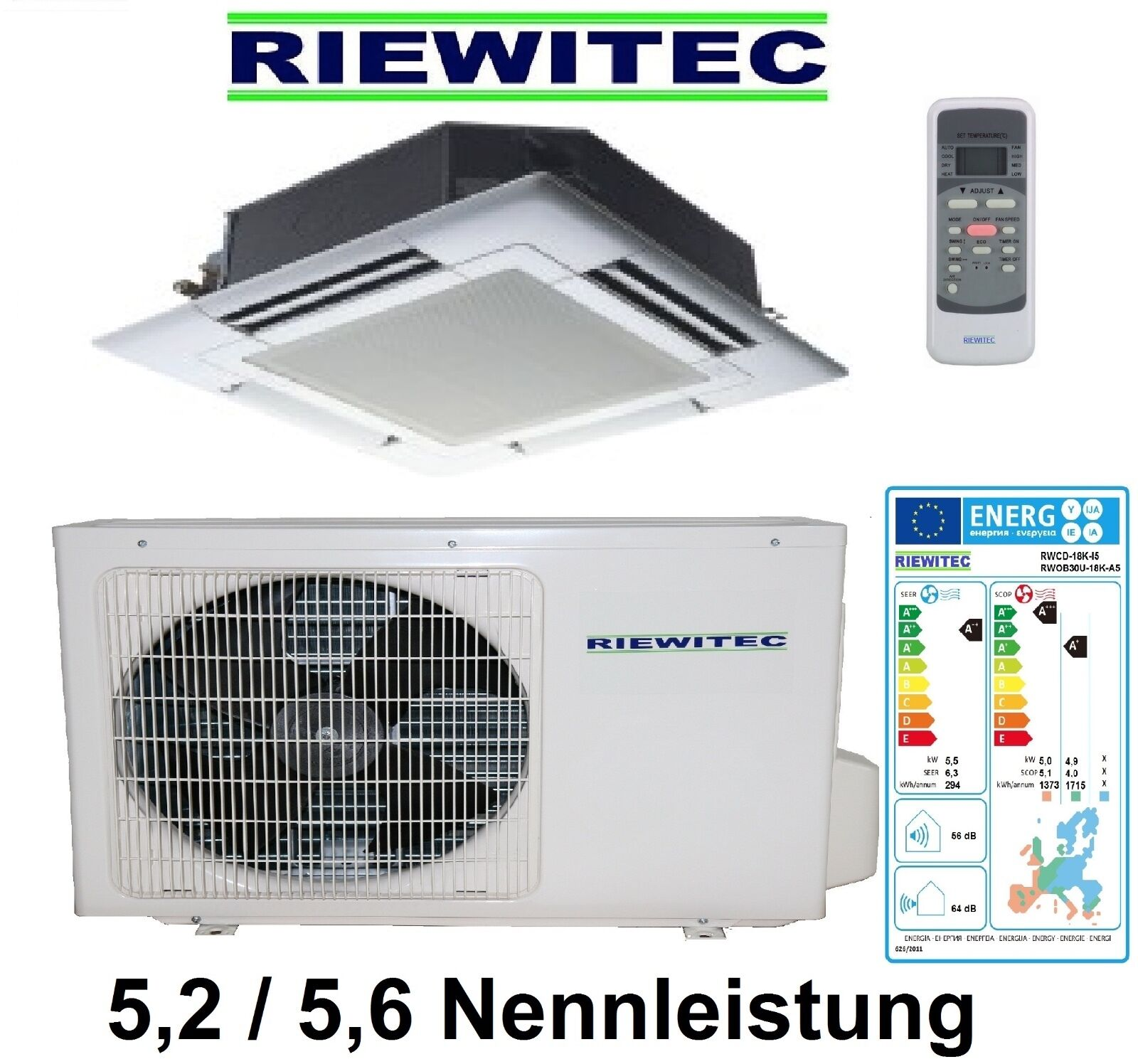 inverter deckenkassette klimaanlage riewitec 5 2 5 6 kw nennleist a a eur 936 00. Black Bedroom Furniture Sets. Home Design Ideas
