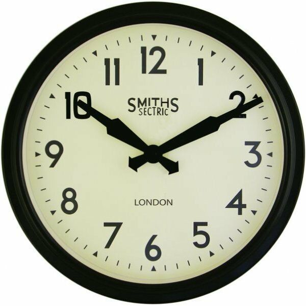 Smiths Clocks Retro Sectric Wall Clock Black New | Hurn And Hurn