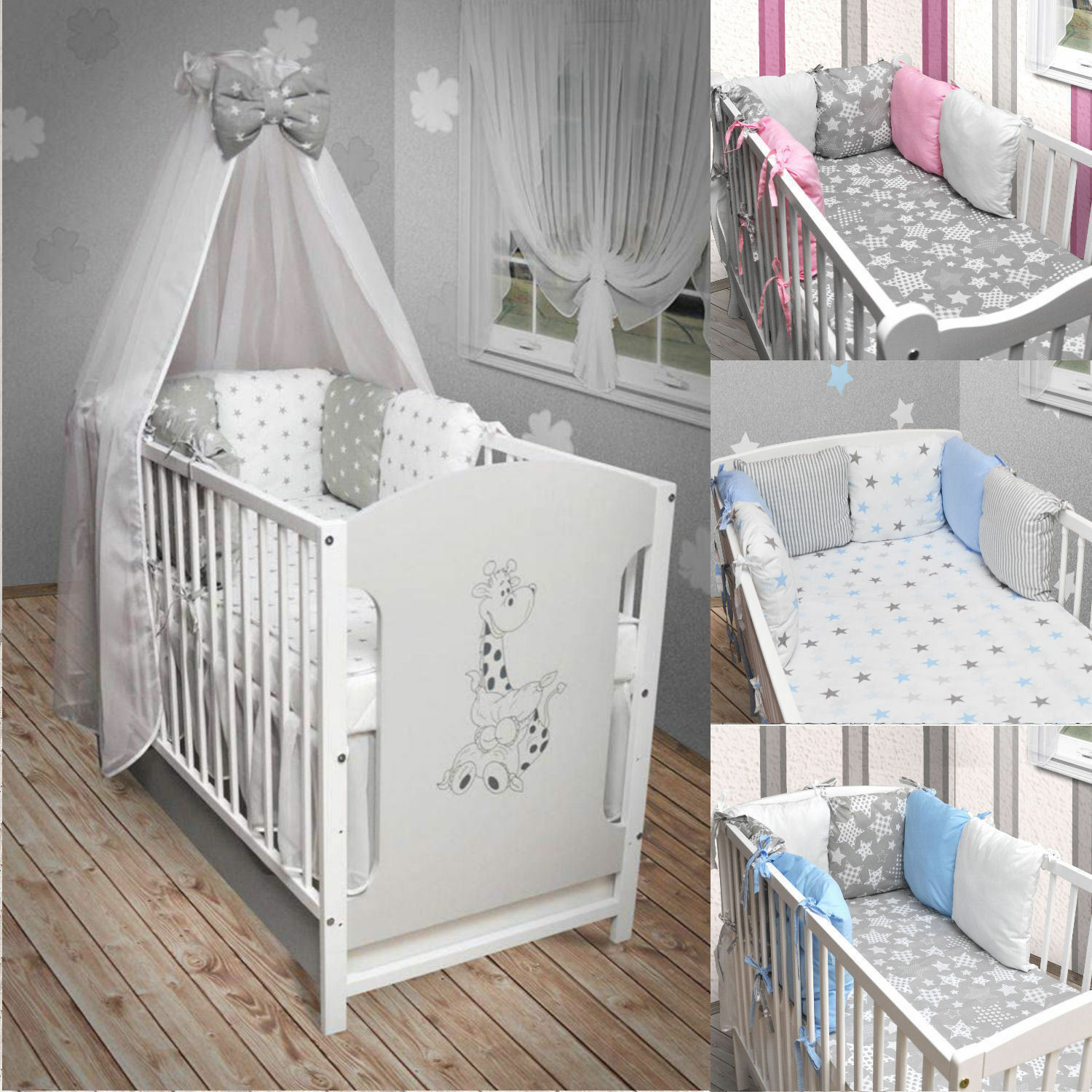 babybett kinderbett wei grau bettset neu matratze schublade 120x60 giraffe eur 173 85. Black Bedroom Furniture Sets. Home Design Ideas