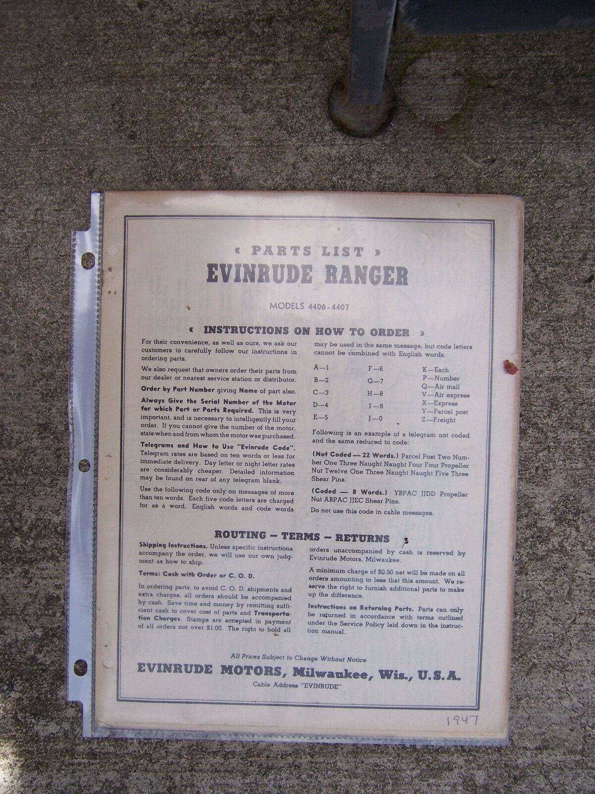 1947 Evinrude Ranger Outboard Motor Parts List 4406 4407 LOTS MORE IN STORE  L 1 of 1Only 1 available ...
