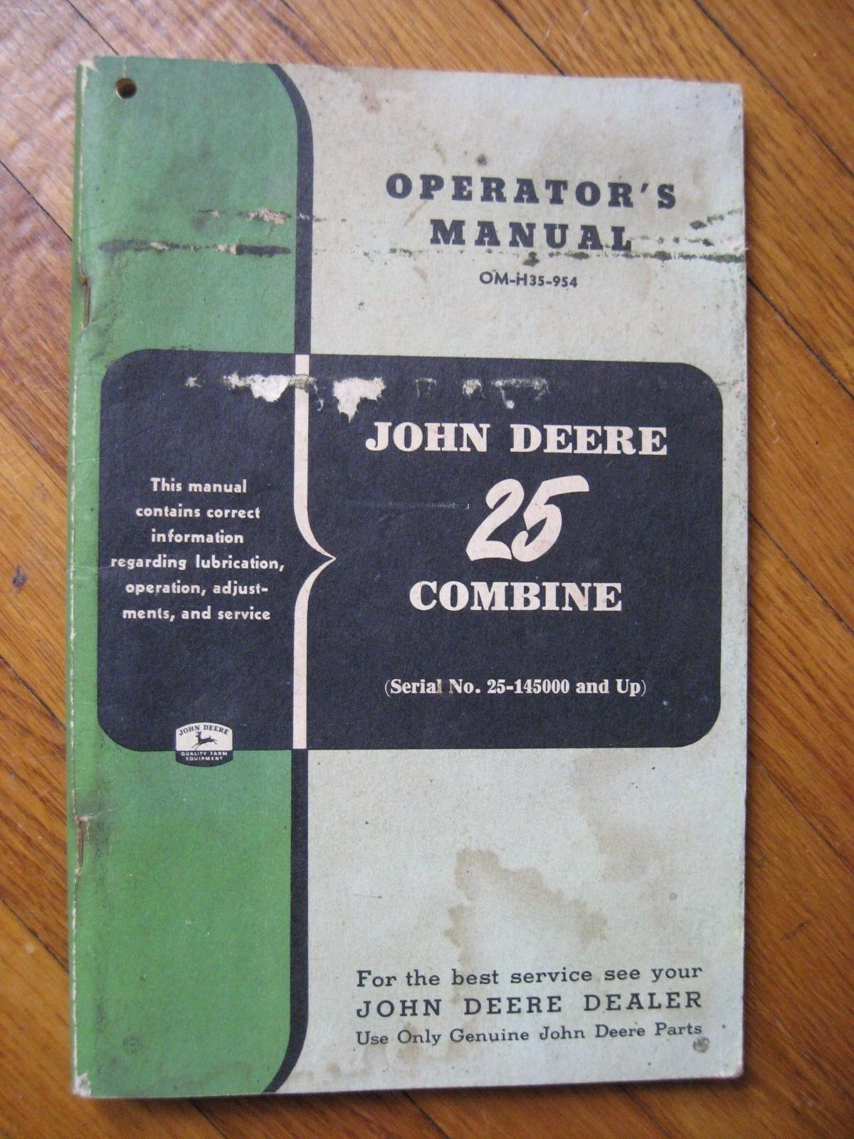 John Deere 25 Combine operators manual ORIGINAL 1 of 2Only 1 available ...