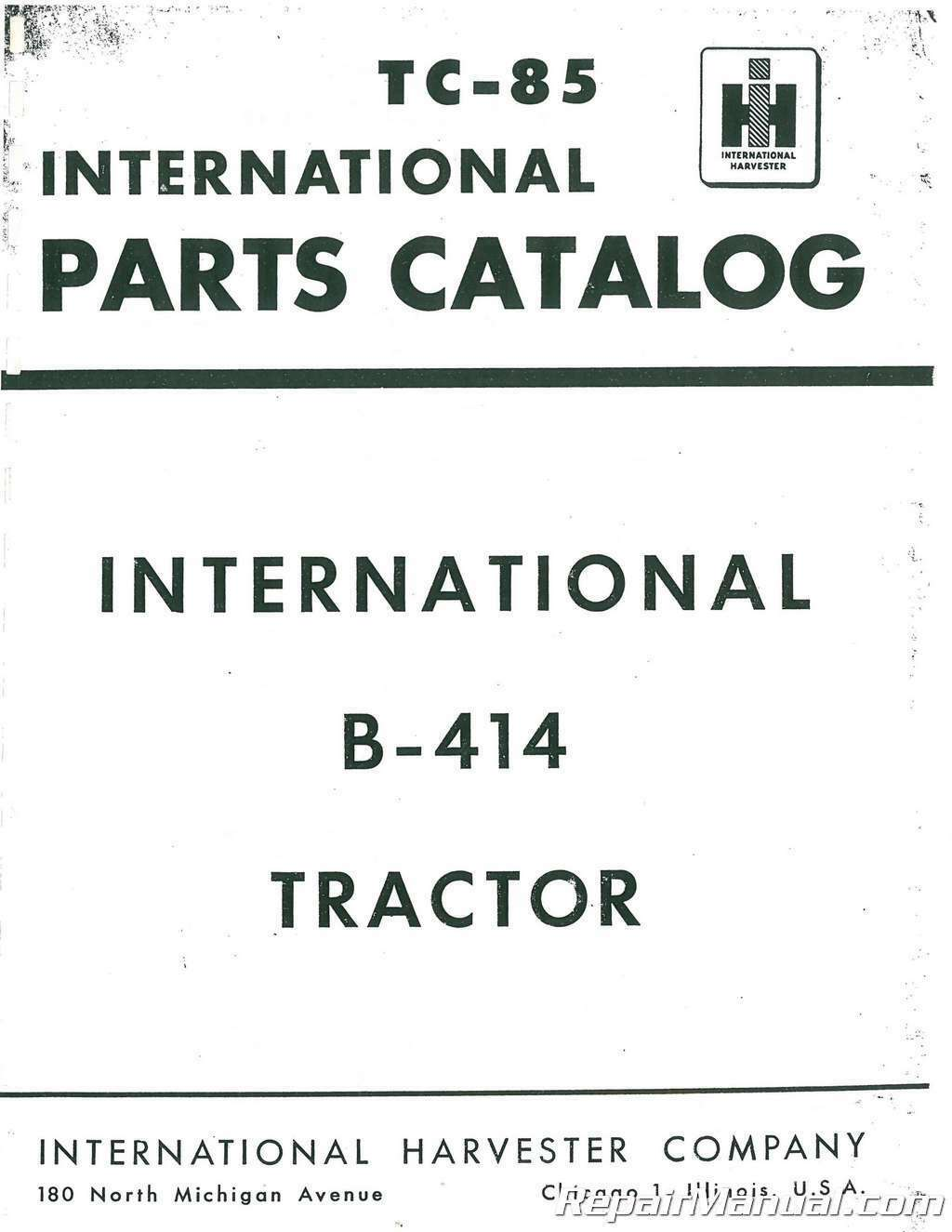 International Harvester Farmall B 414 Parts Manual 4654 Picclick 340 Wiring Schematic 1 Of 1only 4 Available