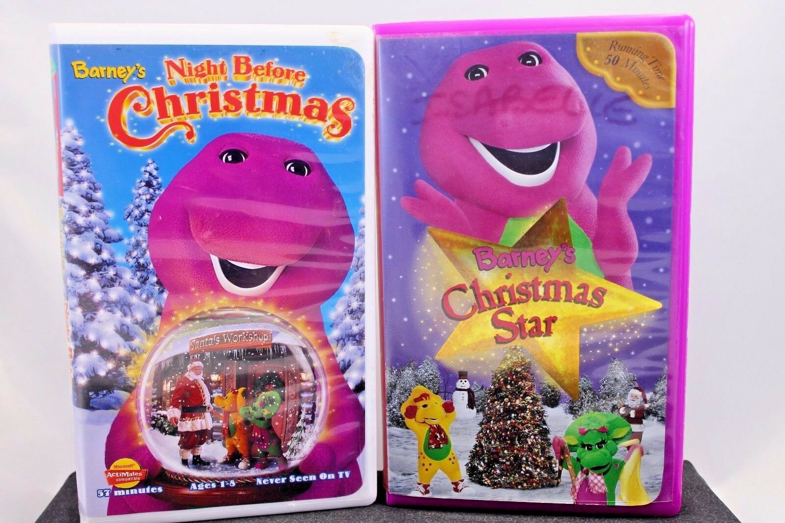 TWO BARNEY VHS Videotapes Barney\'s Christmas Star, Night Before ...