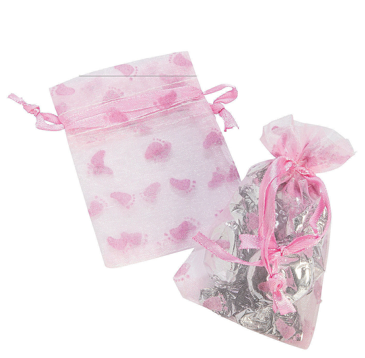 24 PINK Girl Baby Shower Footprint Organza Bags Drawstring Party ...