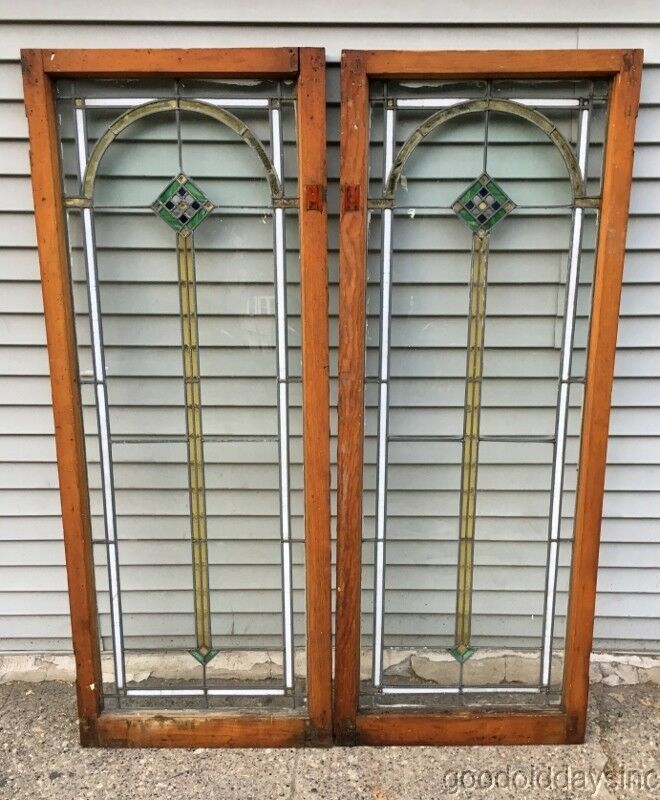 Antique 1920's Stained Leaded Glass Doors / Windows from Chicago 62