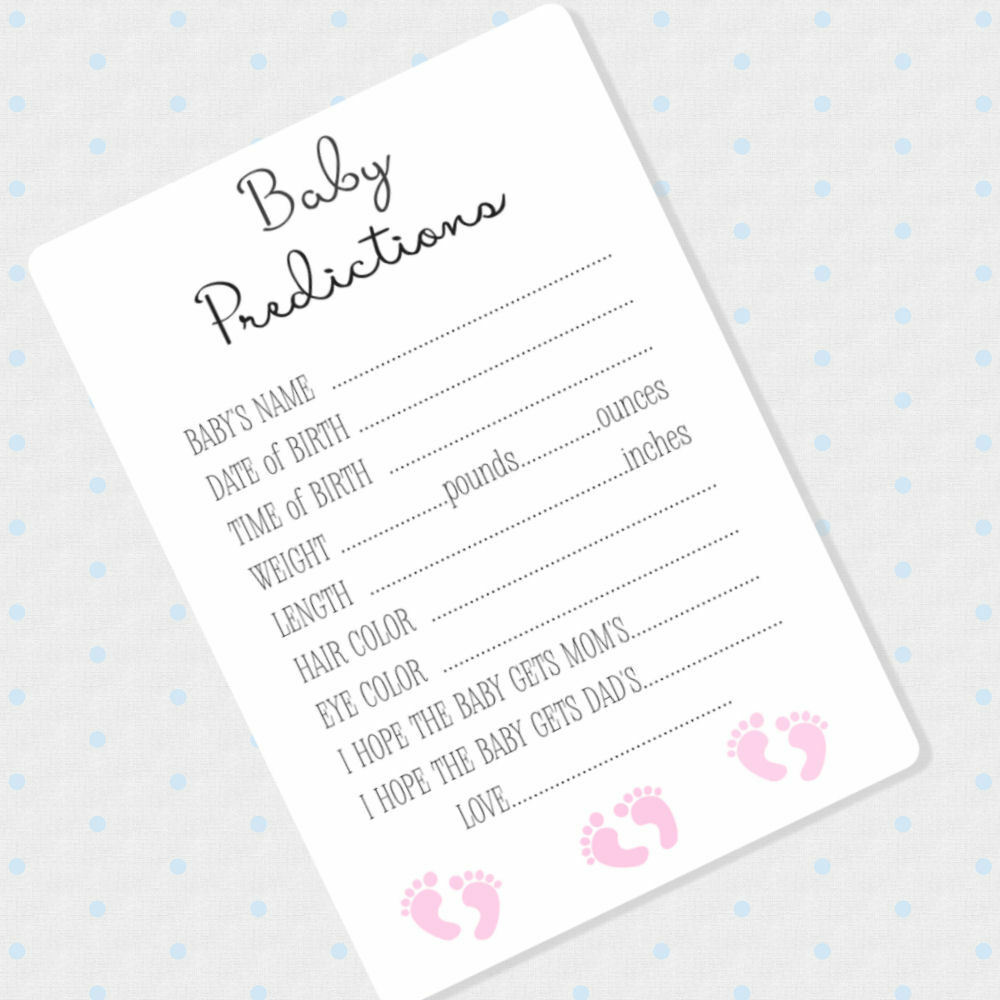 50 Baby Girl Prediction Cards Baby Shower Advice Cards Pink Shower