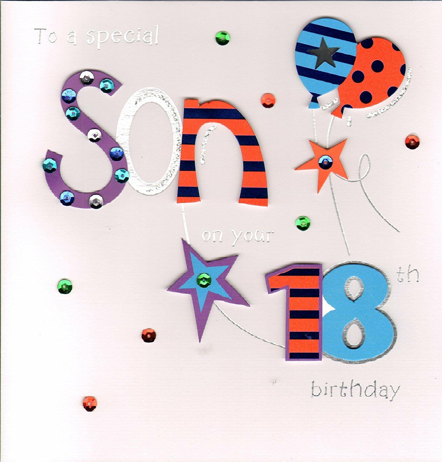 Large Stunning Handmade Special Son 18th Birthday Greeting Card
