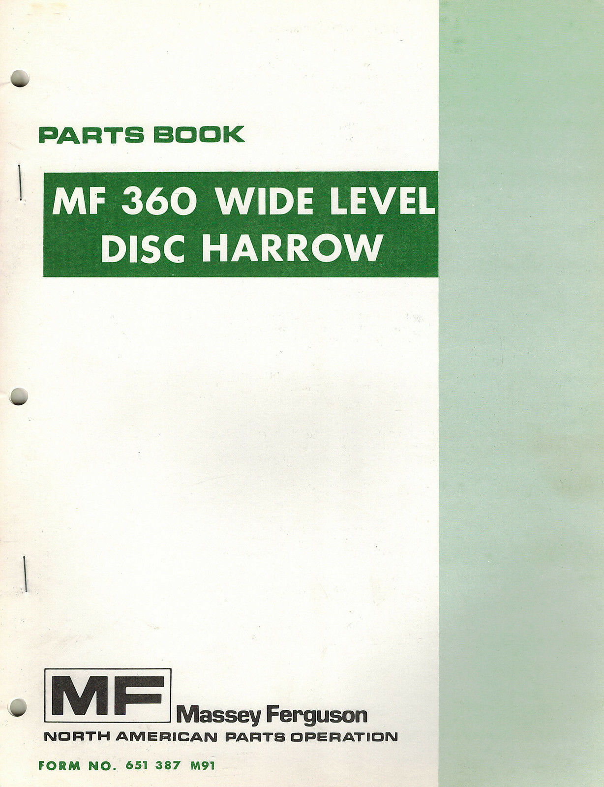 MASSEY FERGUSON MF 360 WIDE LEVEL DISC HARROW PARTS MANUAL mf 651 387 M91 1  of 6Only 1 available ...
