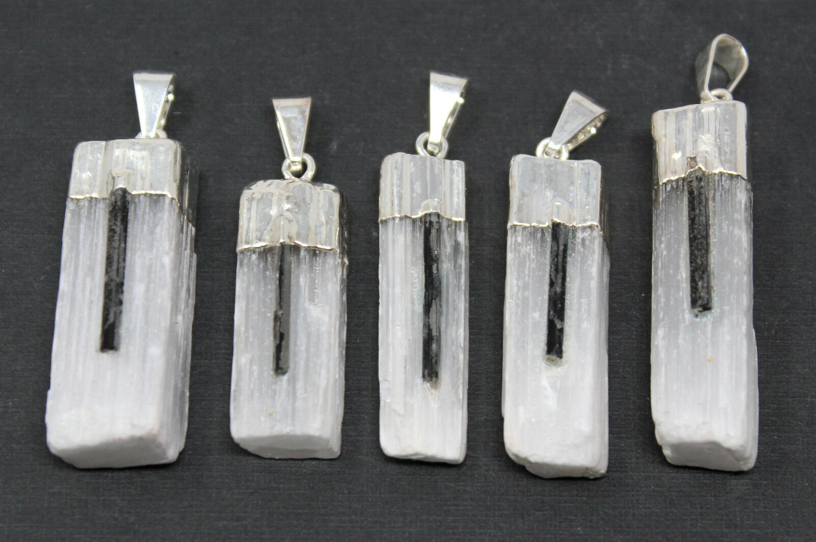Selenite pendant with tourmaline sliver crystal healing crystal for 1 of 1only 0 available aloadofball Gallery