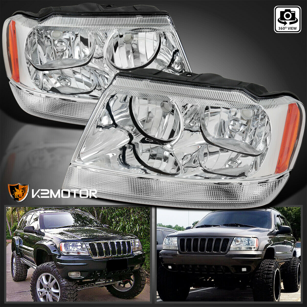 1999 2004 Jeep Grand Cherokee Crystal Clear Replacement Headlights  Left+Right 1 Of 9FREE Shipping ...