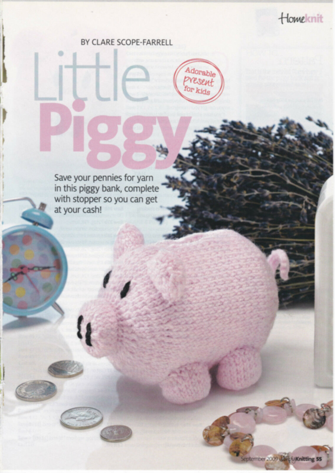 MAGAZINE EXTRACT KNITTING pattern little piggy bank money box toy DK ...