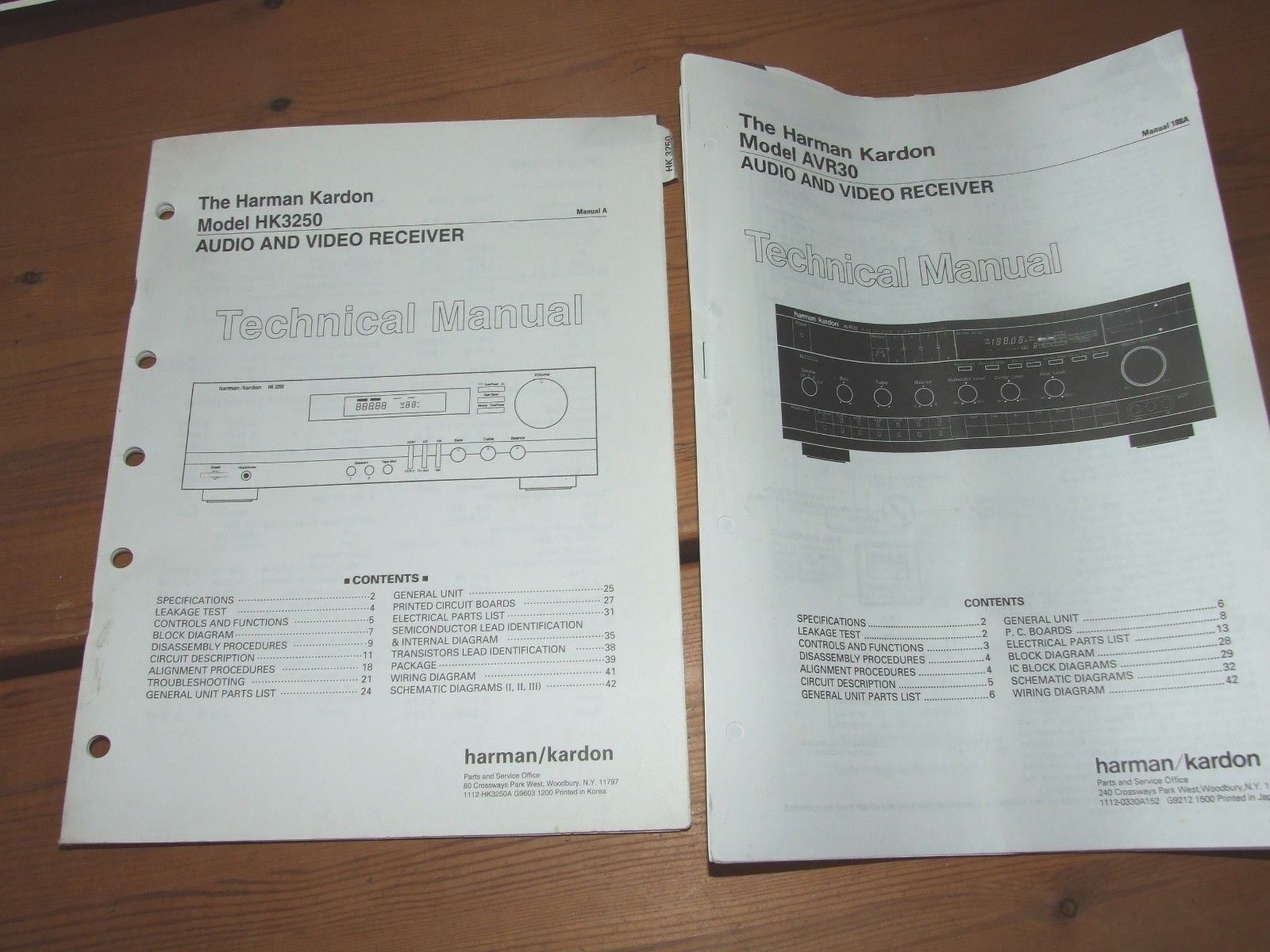 Service Manuals Harman Kardon Hk3250 And Avr30 Schematics Repair Wiring Diagrams Book 1 Of 1only Available