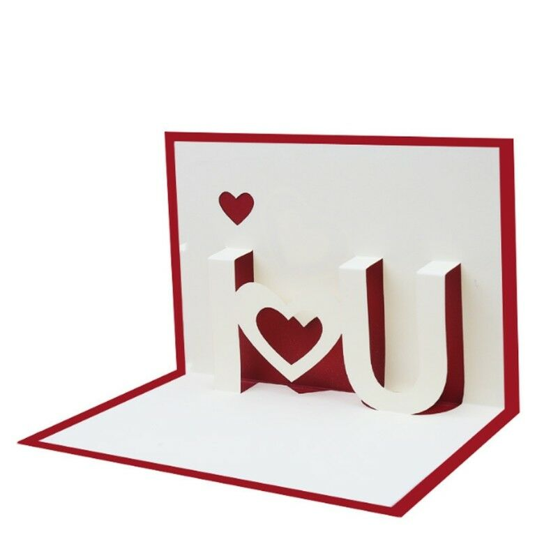 I Love You 3d Pop Up Greeting Cards Happy Birthday Lover Valentines