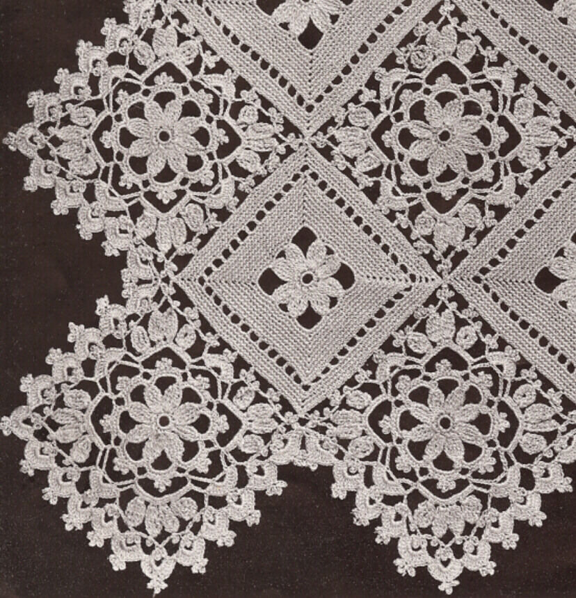 Vintage Crochet Pattern To Make Block Lace Flower Bedspread Motif
