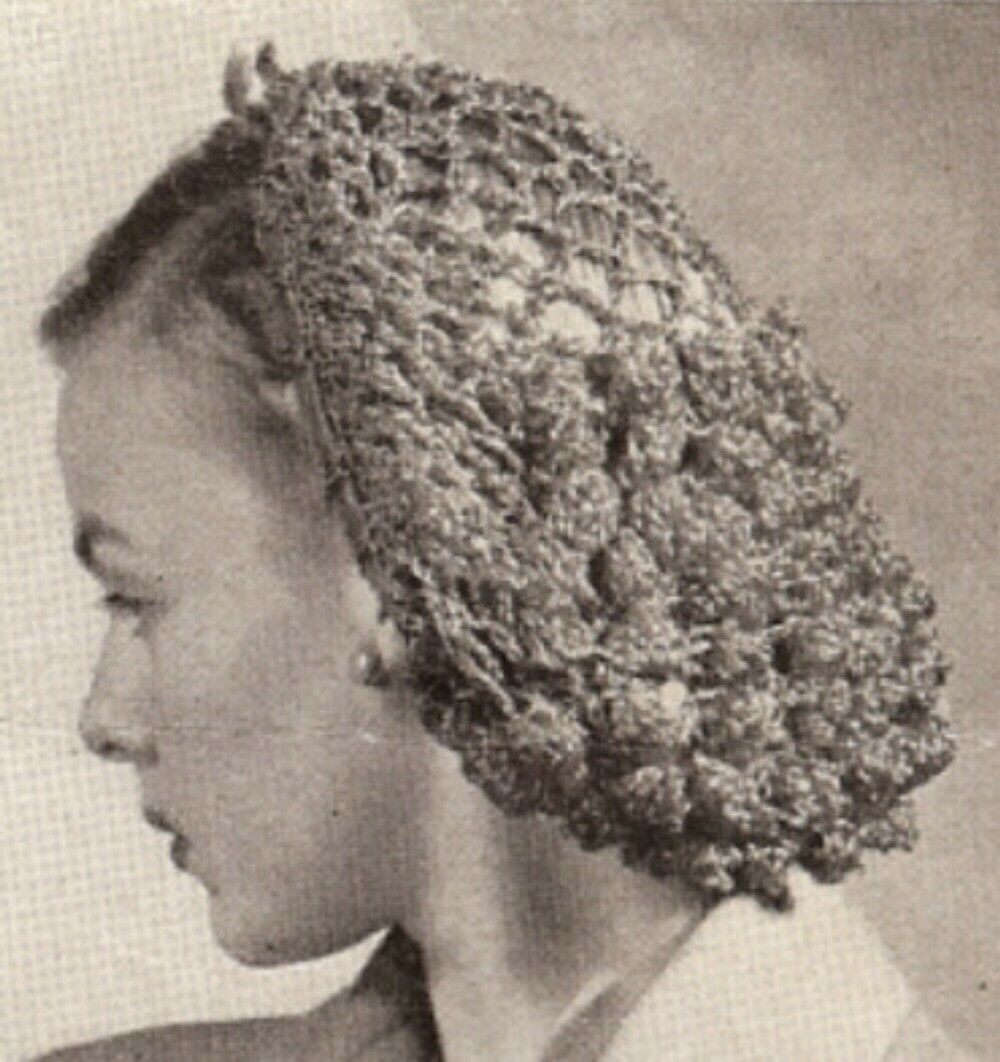 Crochet Hair Net : Vintage PATTERN Crochet Snood Hairnet hair net fishnet