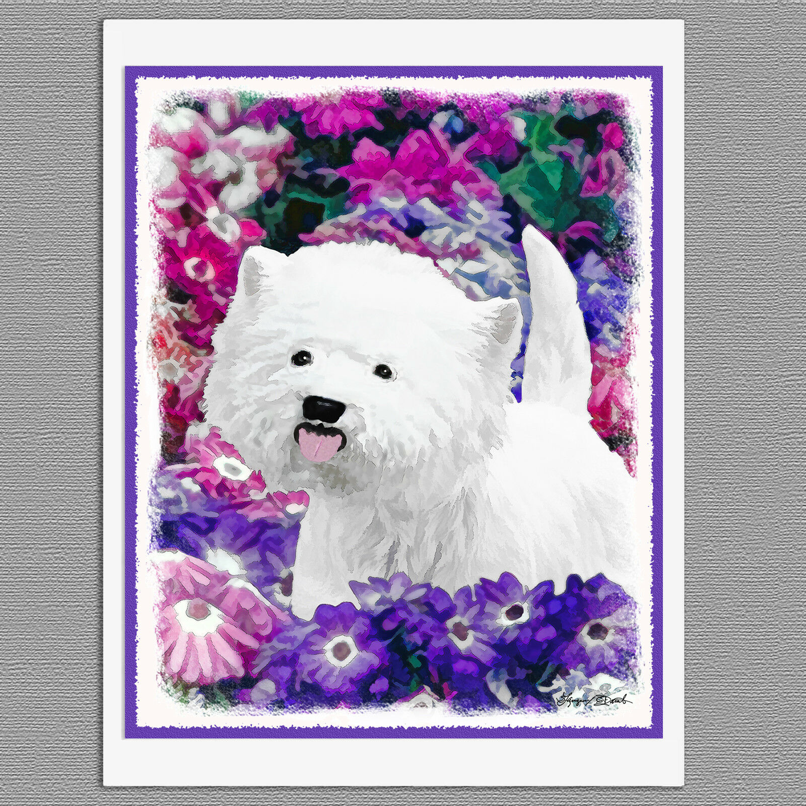 6 WEST HIGHLAND White Terrier Westie Dog Art Note Greeting Cards ...