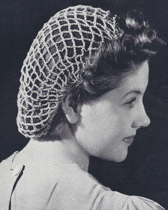 Vintage Crochet PATTERN to make Snood Hairnet Hair Net Fishnet Traditional Style