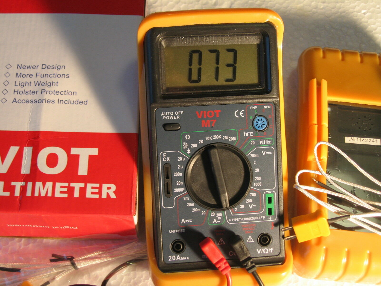 Digital Ammeter MultiMeter+Capacitor Tester+Type K Thermocouple HVAC Electric