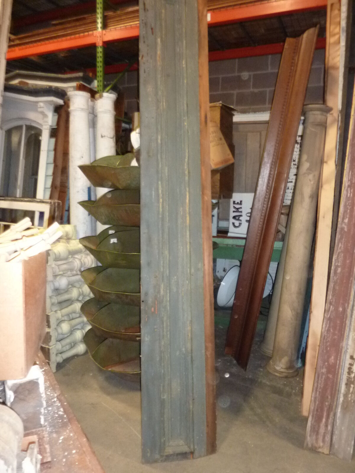 """c1860 BLUE/GRAY fascia PANELED board GREAT for project OR sign - 9'1""""L x 16.5"""""""