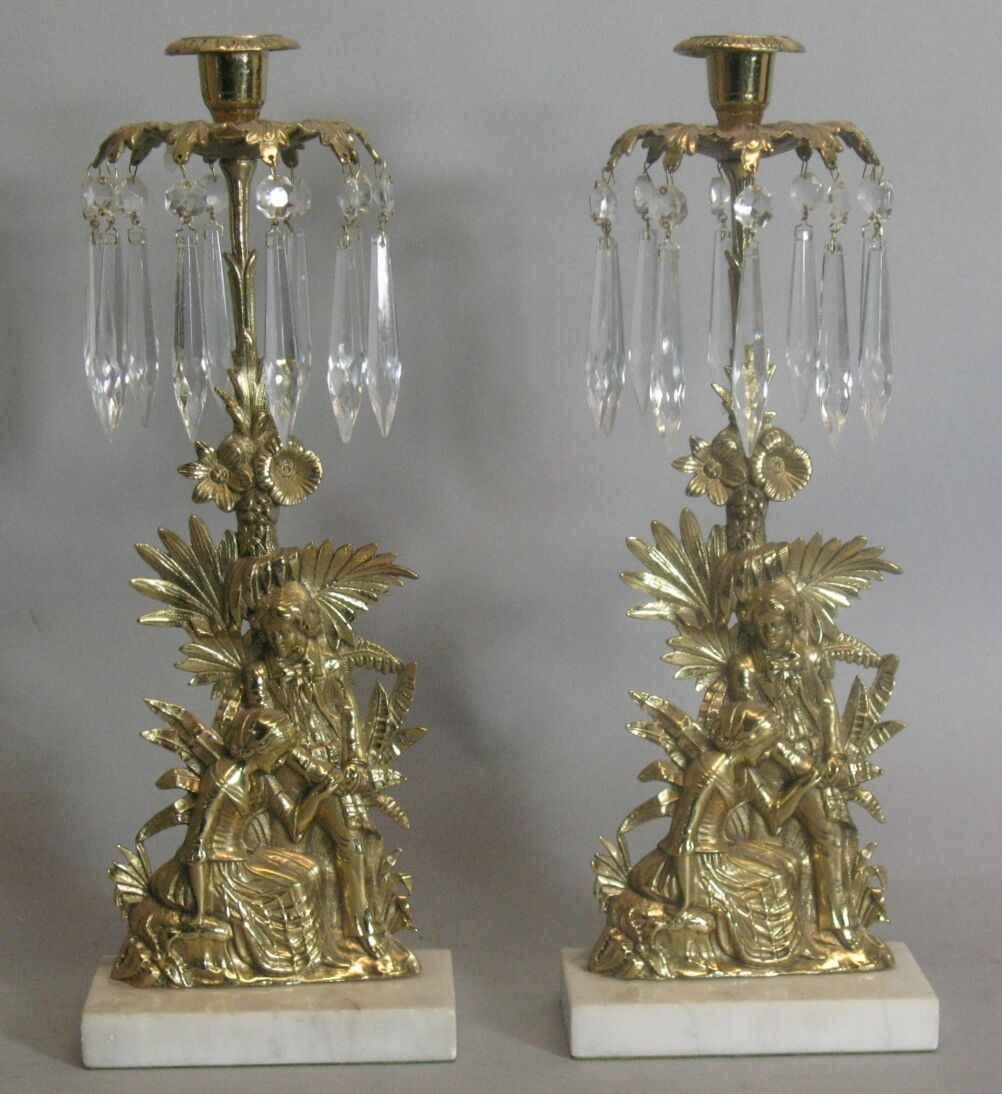 Pair of Antique Victorian Figural Gilt Bronze Candle Holders w/ Crystals c. 1880