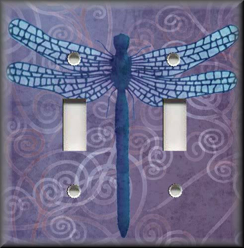 Light Switch Plate Cover Dragonfly With Purple Swirl